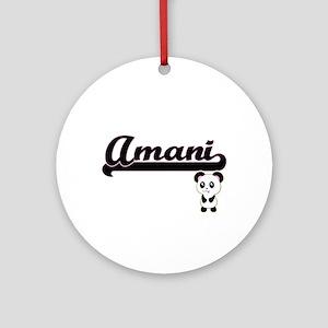Amani Classic Retro Name Design w Ornament (Round)