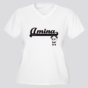 Amina Classic Retro Name Design Plus Size T-Shirt
