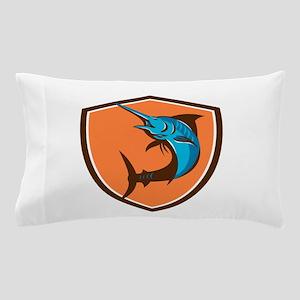 Blue Marlin Fish Jumping Shield Retro Pillow Case