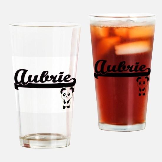 Aubrie Classic Retro Name Design wi Drinking Glass