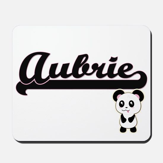 Aubrie Classic Retro Name Design with Pa Mousepad