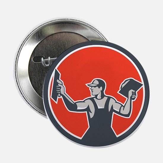 "Plasterer Masonry Trowel Circle Retro 2.25"" Button"