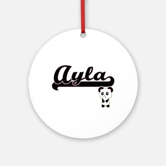 Ayla Classic Retro Name Design wi Ornament (Round)