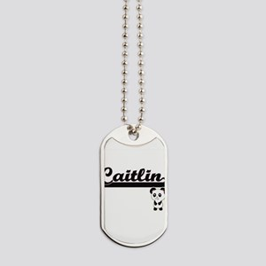 Caitlin Classic Retro Name Design with Pa Dog Tags
