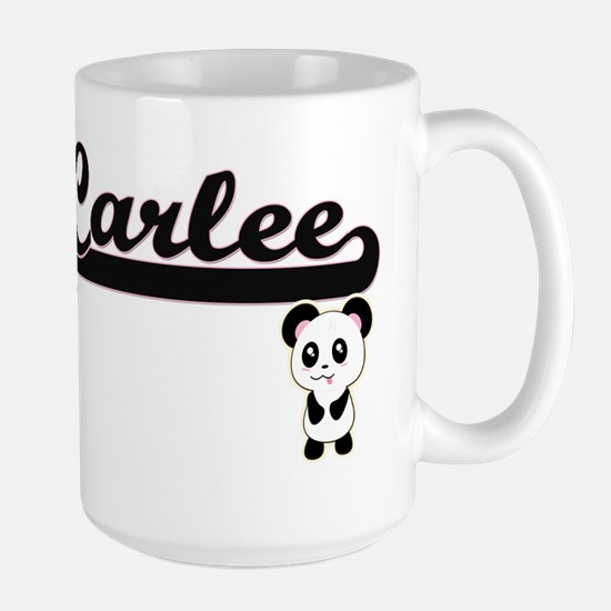 Carlee Classic Retro Name Design with Panda Mugs