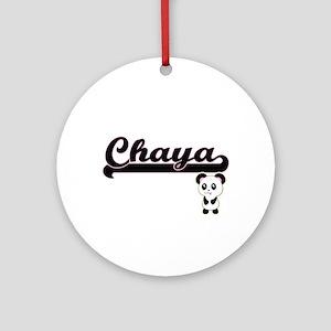 Chaya Classic Retro Name Design w Ornament (Round)