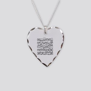 Sheet Music by Bach Necklace Heart Charm