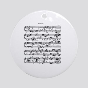 Sheet Music by Bach Round Ornament