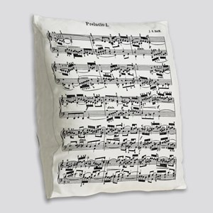 Sheet Music by Bach Burlap Throw Pillow