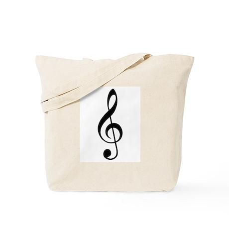 Trad Basic Black Treble Clef Tote Bag