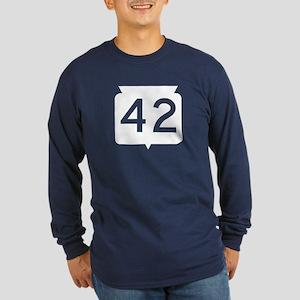 Highway 42, Wisconsin Long Sleeve Dark T-Shirt