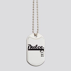 Dulce Classic Retro Name Design with Pand Dog Tags