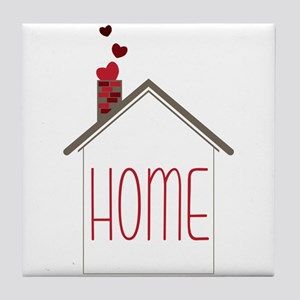 Home With Hearts Tile Coaster