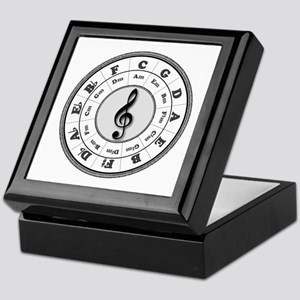Grayscale Circle of Fifths Keepsake Box