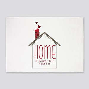 Home Is Where The Heart Is 5'x7'Area Rug