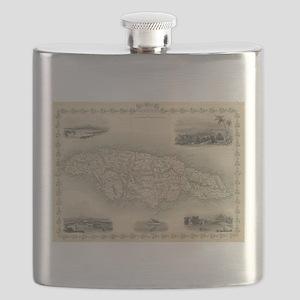 Vintage Map of Jamaica (1851) Flask