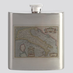 Vintage Map of Italy (1584) Flask