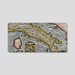 Vintage Map of Italy (1584) Aluminum License Plate