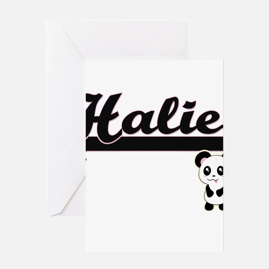Halie Classic Retro Name Design wit Greeting Cards