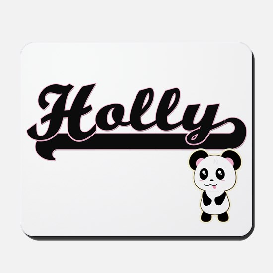 Holly Classic Retro Name Design with Pan Mousepad