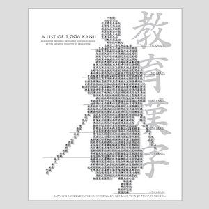 samurai made of education kanji Posters