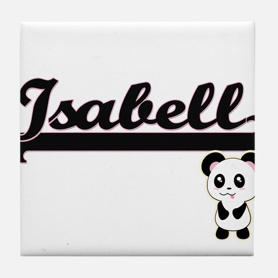 Isabell Classic Retro Name Design wit Tile Coaster