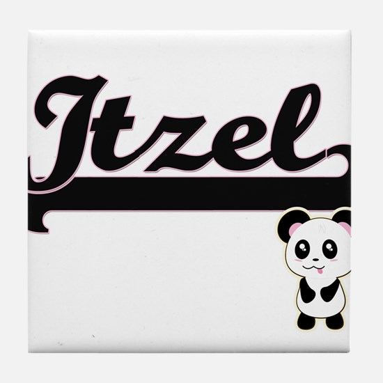 Itzel Classic Retro Name Design with Tile Coaster