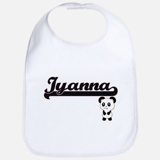 Iyanna Classic Retro Name Design with Panda Bib