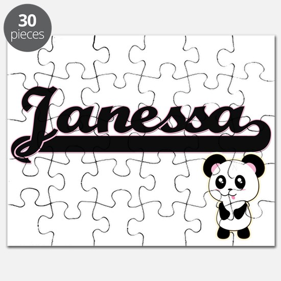 Janessa Classic Retro Name Design with Pand Puzzle