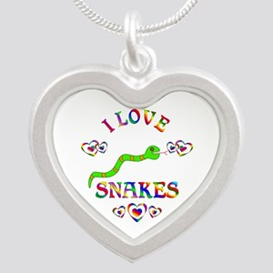I Love Snakes Silver Heart Necklace