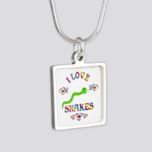 I Love Snakes Silver Square Necklace