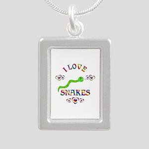 I Love Snakes Silver Portrait Necklace