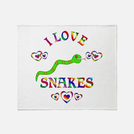 I Love Snakes Throw Blanket