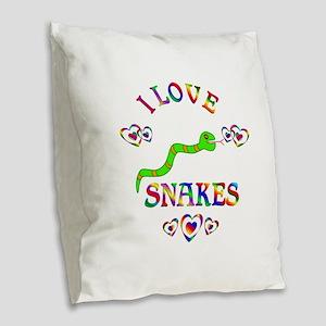 I Love Snakes Burlap Throw Pillow