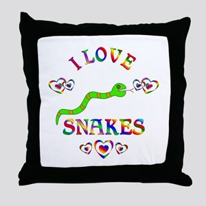 I Love Snakes Throw Pillow