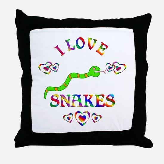 I Love Snakes Throw Pillow