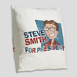 Steve Smith for President Burlap Throw Pillow