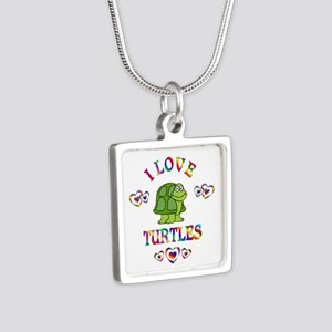 I Love Turtles Silver Square Necklace