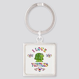 I Love Turtles Square Keychain