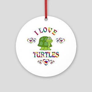 I Love Turtles Ornament (Round)