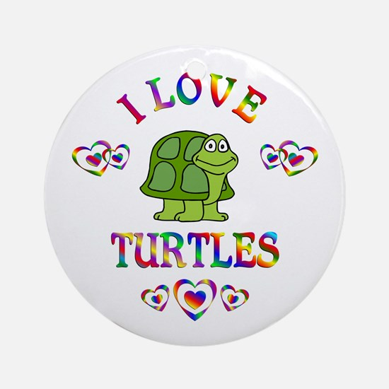 I Love Turtles Ornament (Round)