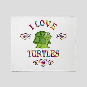 I Love Turtles Throw Blanket