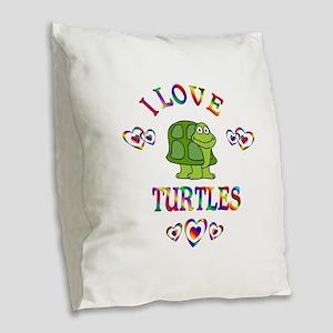 I Love Turtles Burlap Throw Pillow