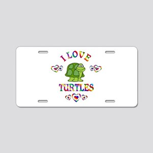 I Love Turtles Aluminum License Plate