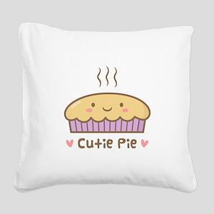 Cute Cutie Pie Food Doodle Square Canvas Pillow