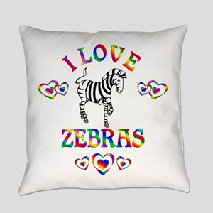 I Love Zebras Everyday Pillow