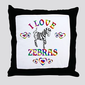I Love Zebras Throw Pillow