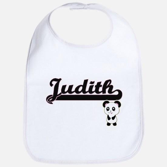 Judith Classic Retro Name Design with Panda Bib