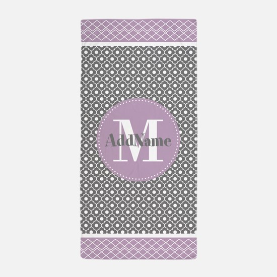 Lilac and Gray Moroccan Quatrefoil Mon Beach Towel