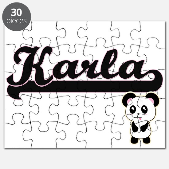 Karla Classic Retro Name Design with Panda Puzzle